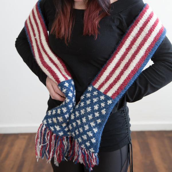 American Flag Scarf with Fringe