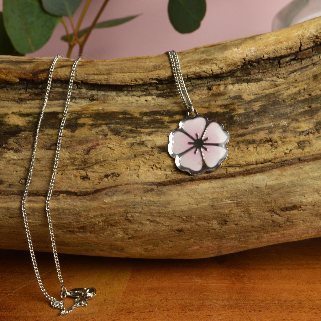 Single Cherry Blossom Pendant Necklace