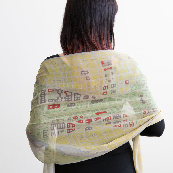 Historic Map of Washington Silk Scarf