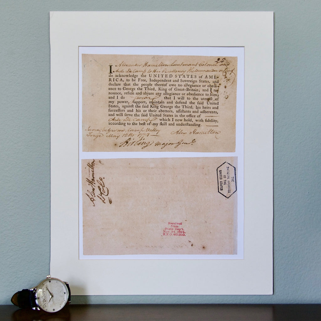 Hamilton Oath of Allegiance Matted Print