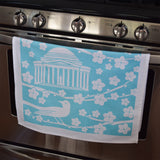 Blue Cherry Blossom Tea Towel