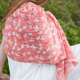 Coral Cherry Blossom Rectangle Scarf