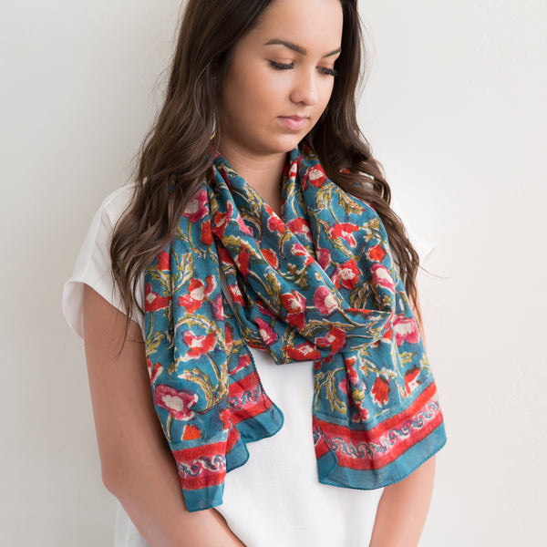 Teal Floral Rectangle Scarf