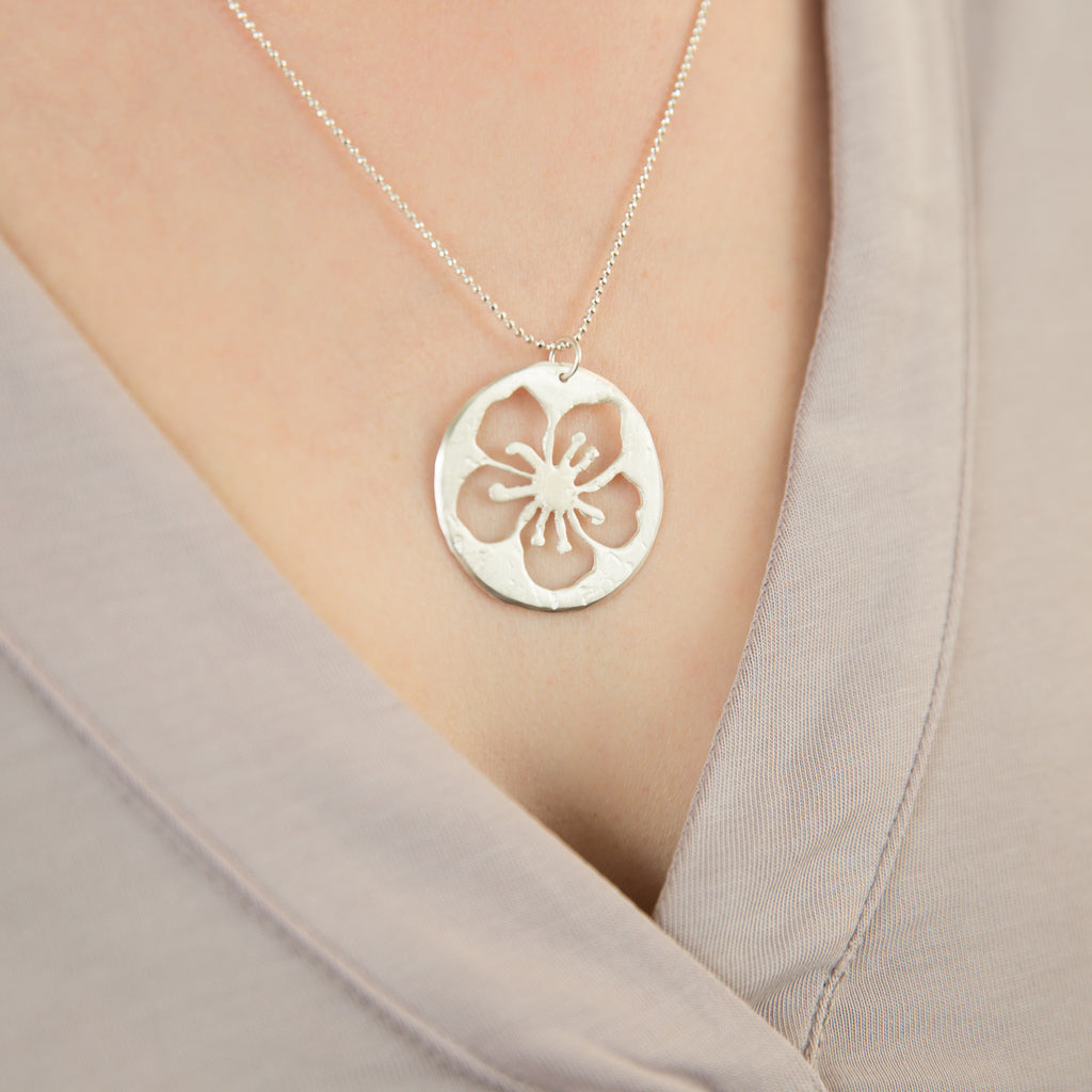 Cut-out Cherry Blossom Necklace