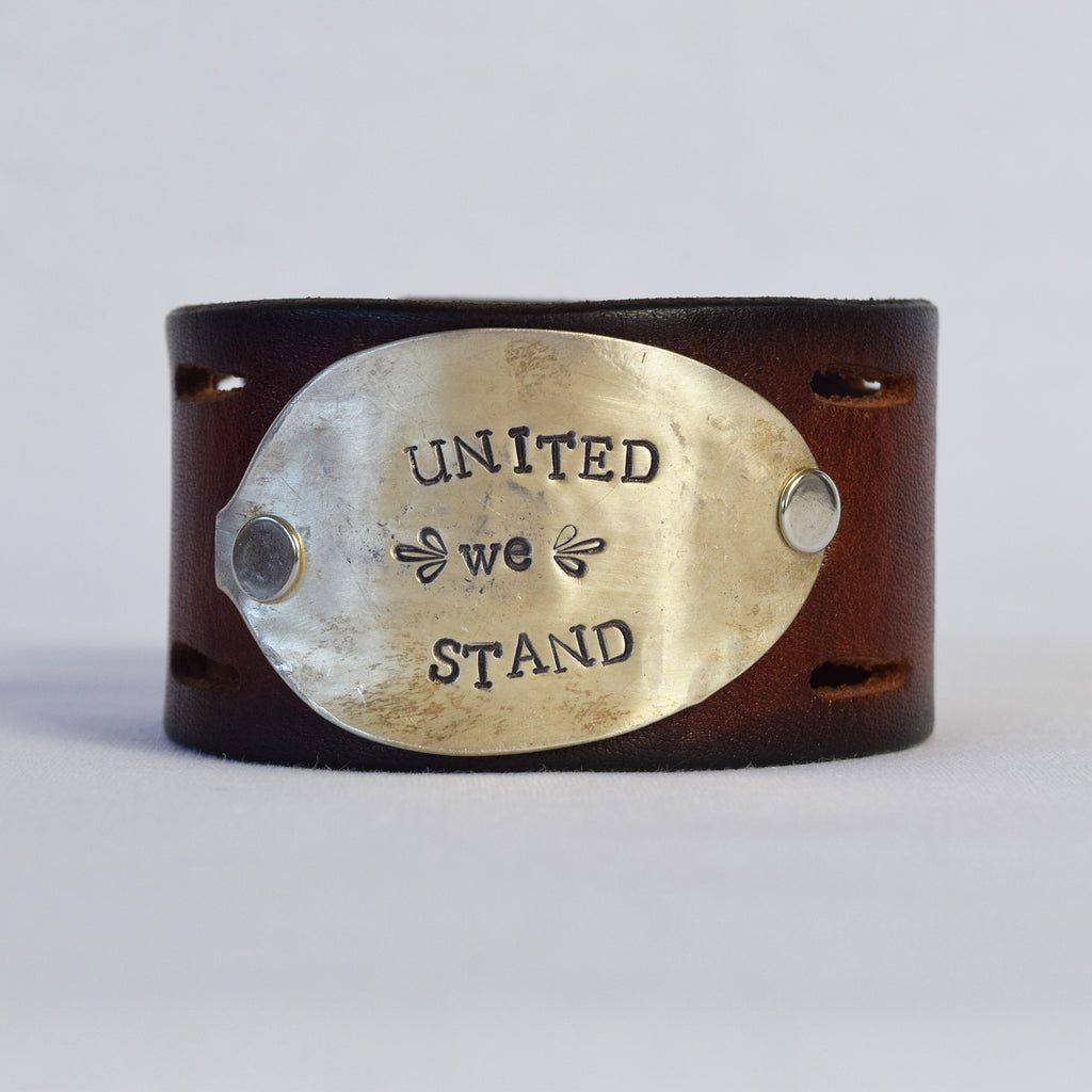 United We Stand Leather Cuff