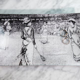 Tennis Match Glass Decoupage Tray: 6 X 10 inches