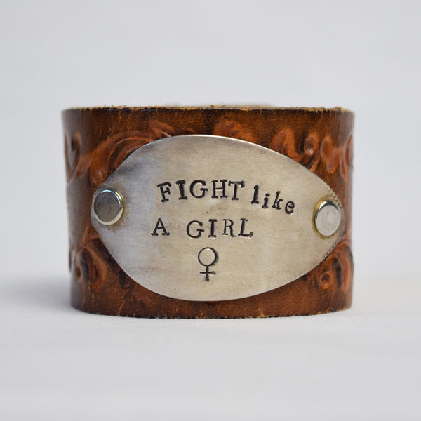 Fight Like a Girl Leather Cuff
