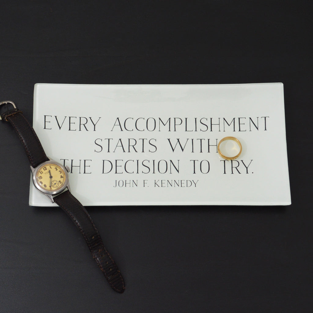 Every Accomplishment Glass Decoupage Tray: 4 X 9 inches