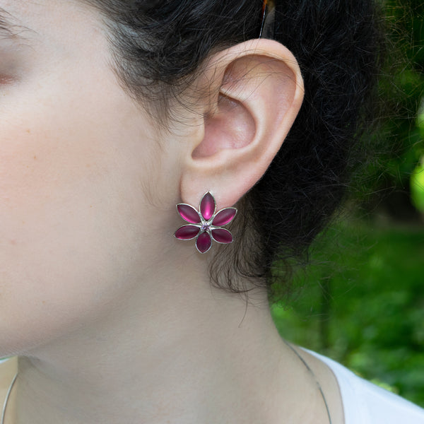 Cherry Blossom Post Earrings: Fuchsia