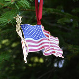 Waving American Flag Ornament