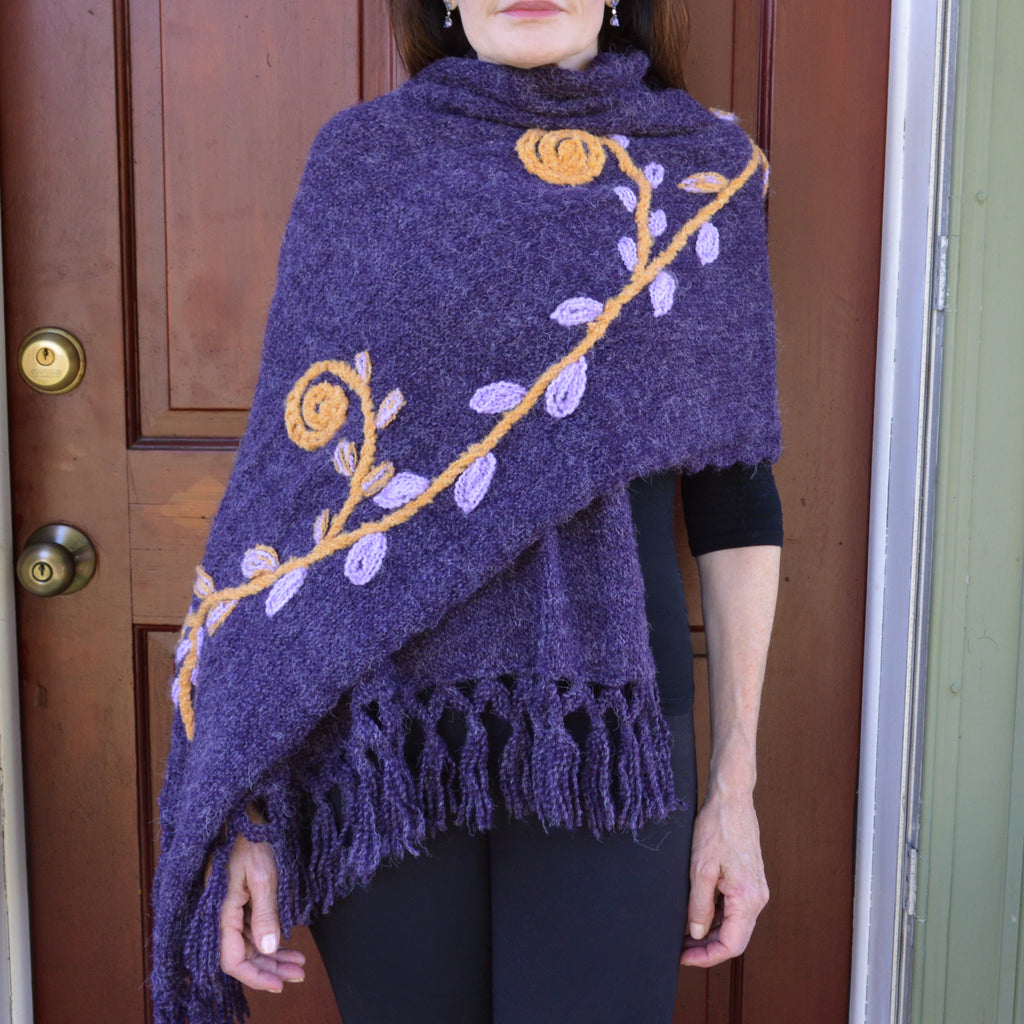 Embroidered Fringed Shawl with Flowers and Vines