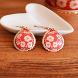 Red Cherry Blossom Teardrop Earrings