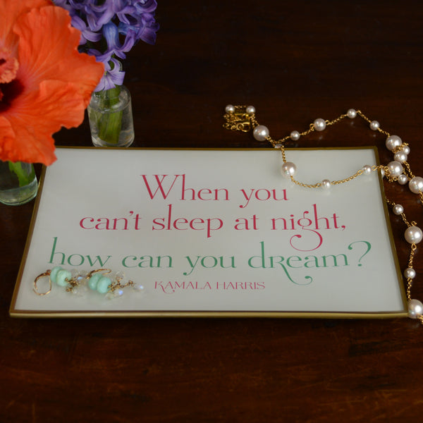 When You Can't Sleep At Night Glass Decoupage Tray: 5 X 8 inches