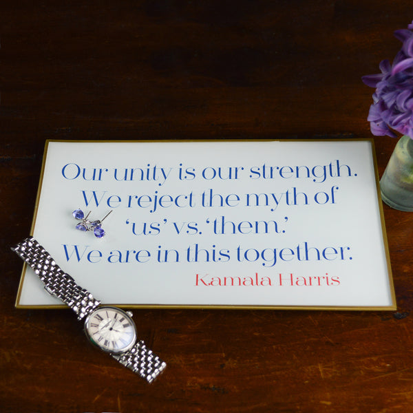 Our Unity Is Our Strength Glass Decoupage Tray: 5 X 8 inches