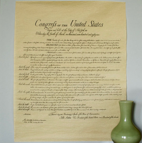 Bill of Rights Reproduction 23 by 28 inches