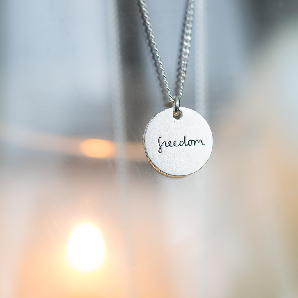 United, Freedom & Liberty Silver Circle Pendant Necklaces