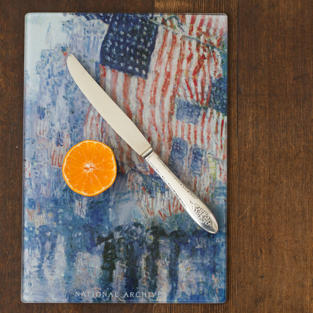 The Avenue in the Rain Rectangle Cutting Board
