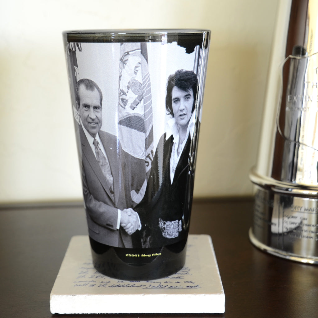 Elvis Nixon Glass Pint Handshake