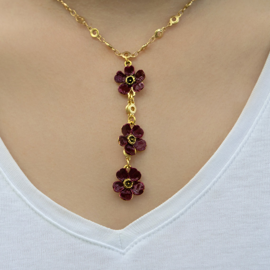 Purple Three Blossom Choker