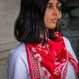 Red Sakura Silk Scarf
