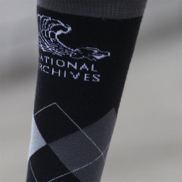 National Archives Black Argyle Socks