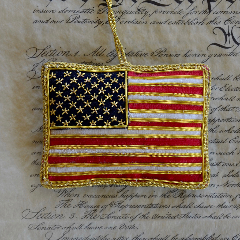 God Bless America Flag Ornament