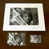Young Woman at Civil Rights March: Signed Matted Print, Magnet and Postcard Bundled Set