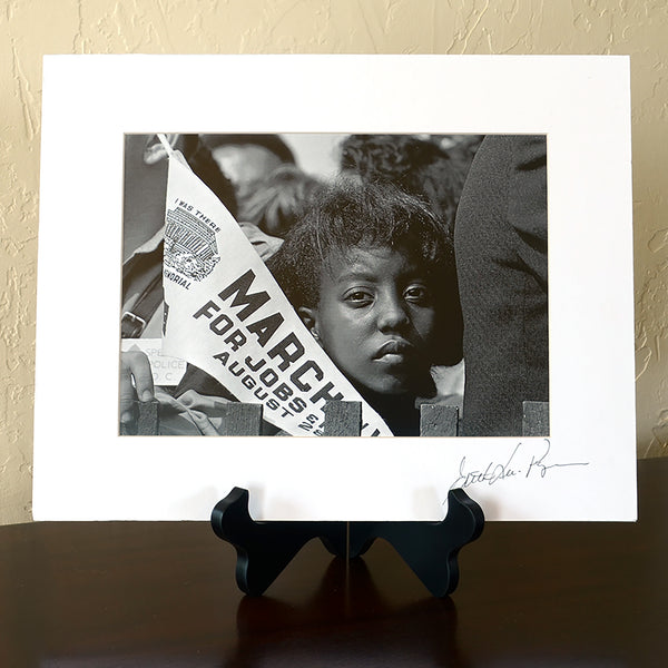 Young Woman at Civil Rights March Signed Matted Print