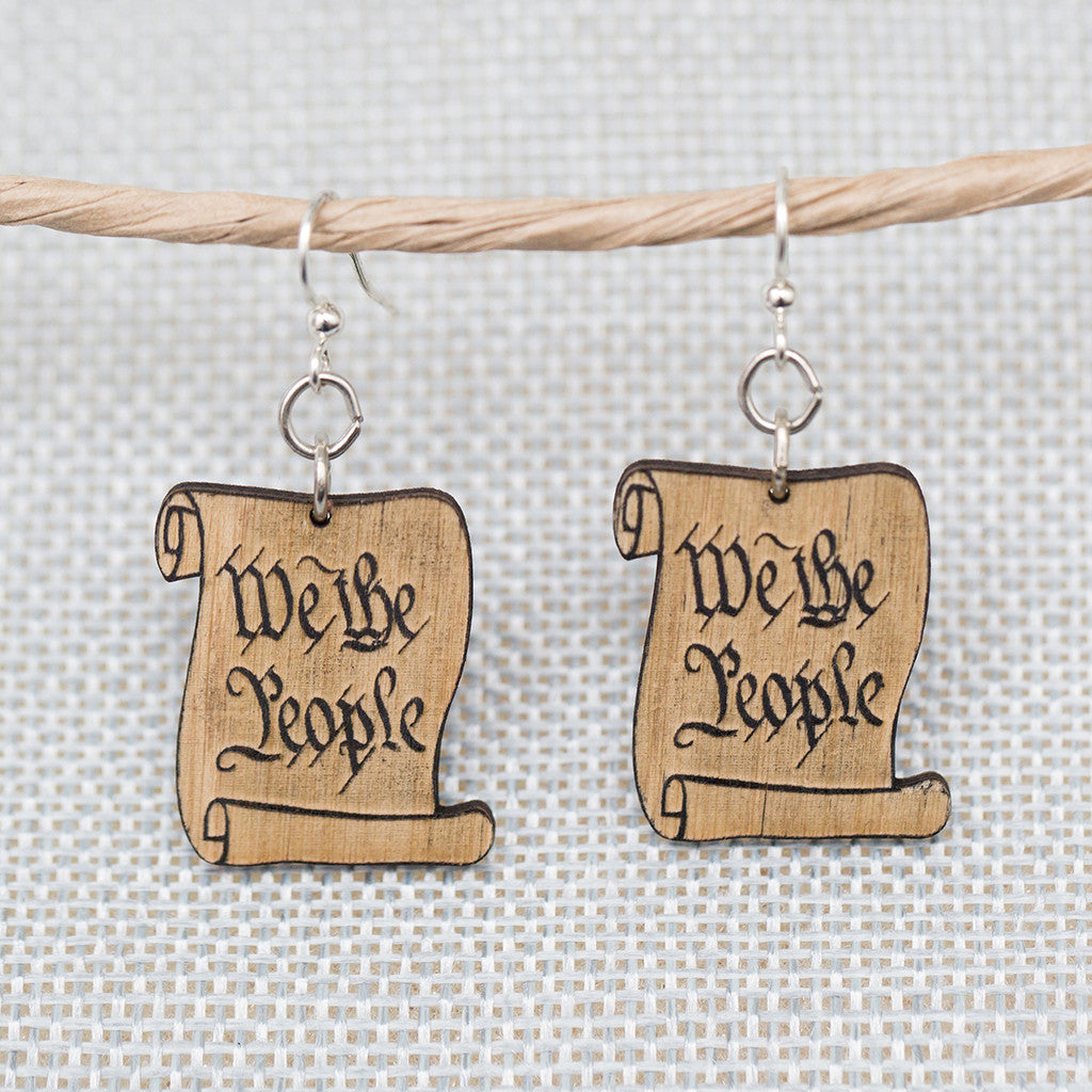 We the People Scroll Earrings