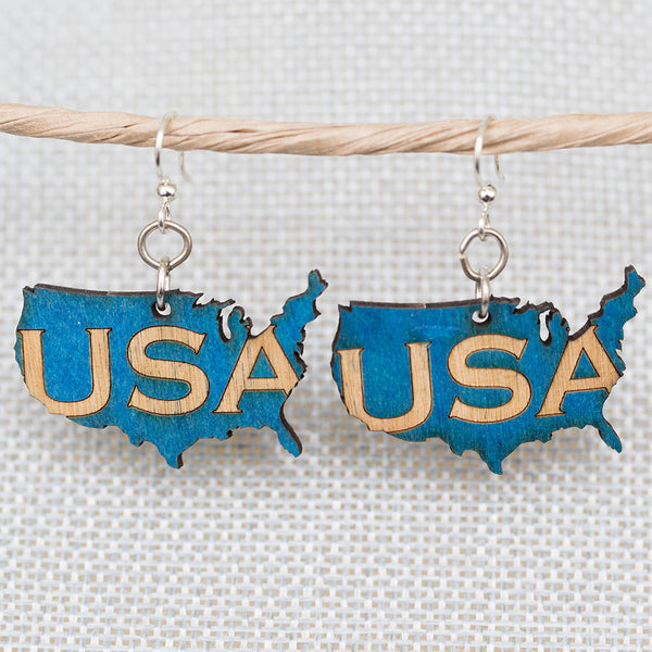 U.S.A. Country Shaped Earrings