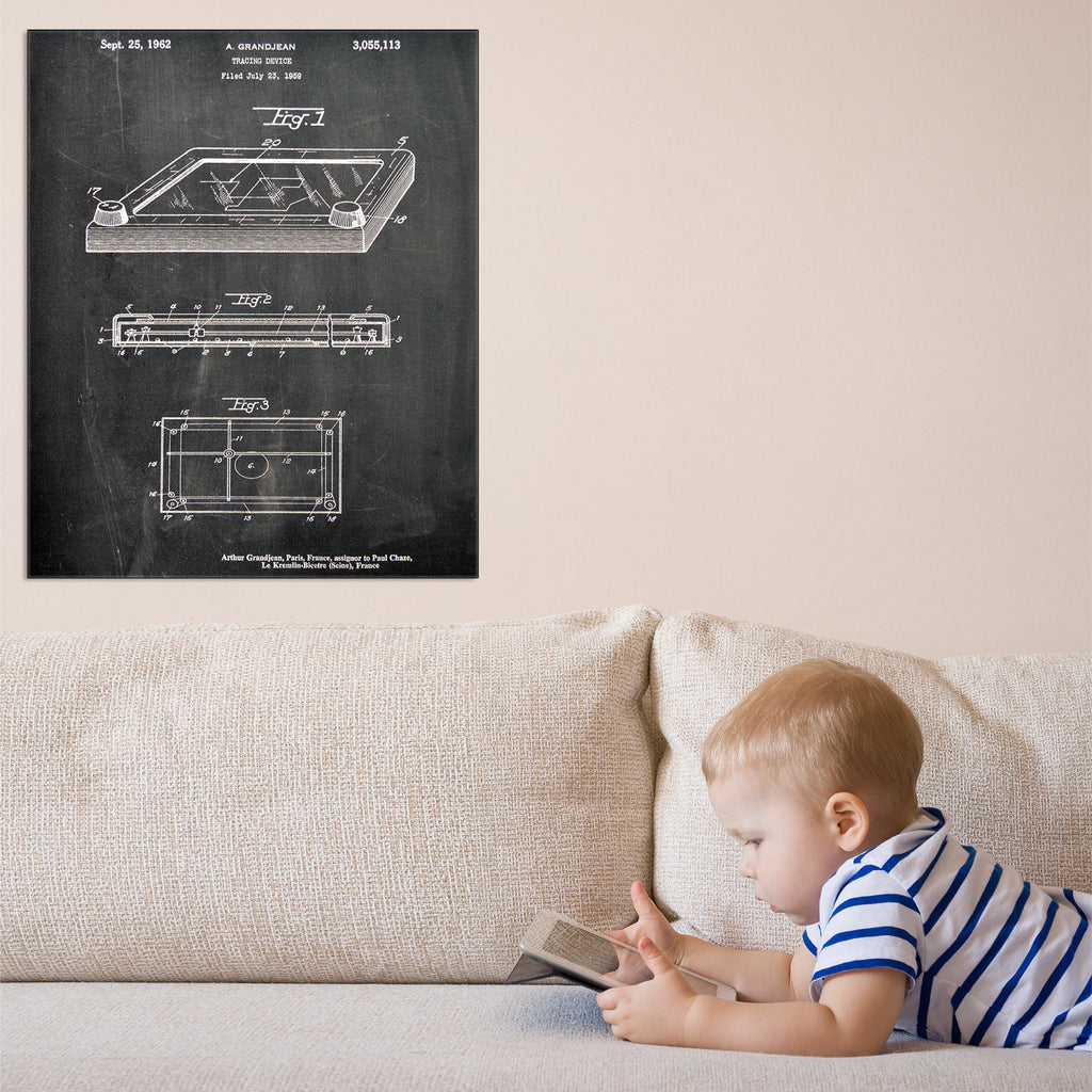 Etch-A-Sketch Canvas Patent Print