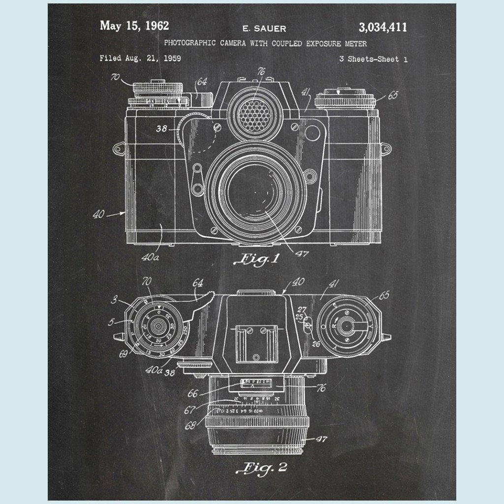 Slightly Damaged Camera Canvas Patent Print