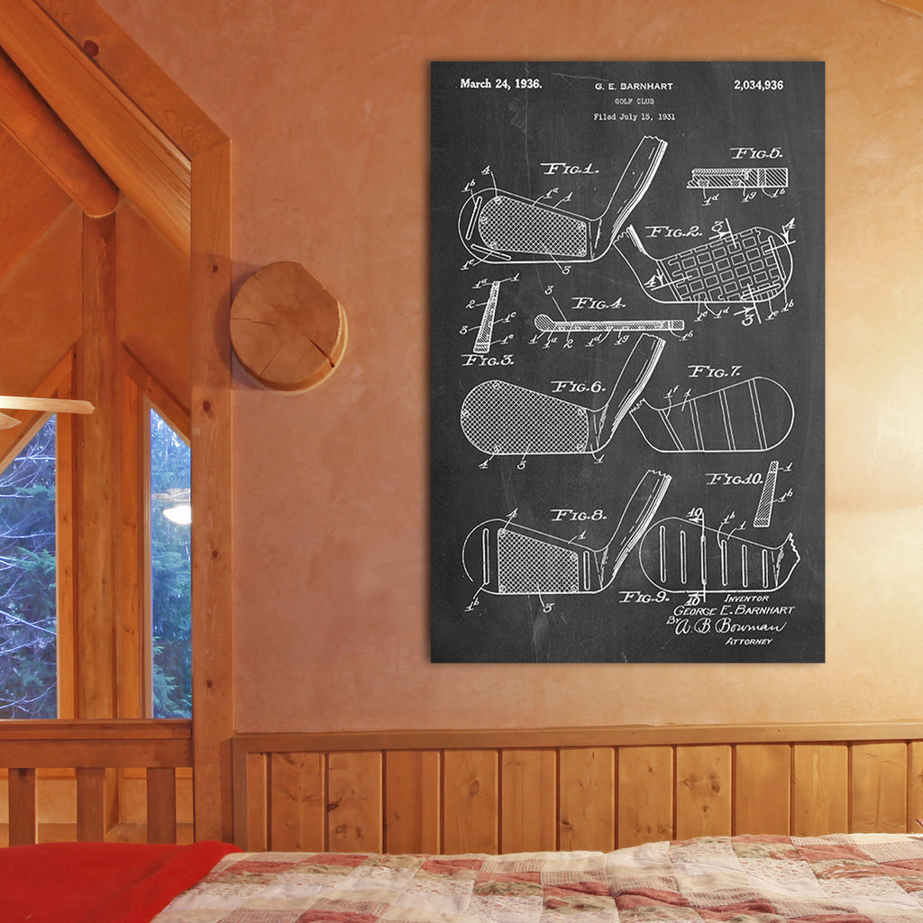 Golf Club Canvas Patent Print
