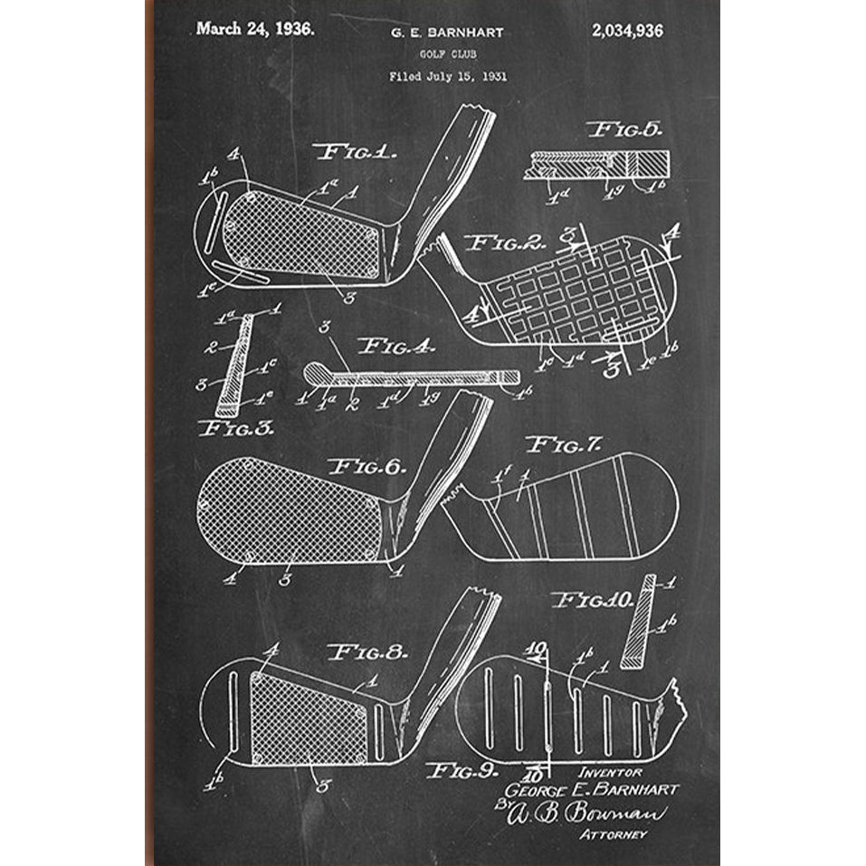 Slightly Damaged Golf Club Canvas Patent Print