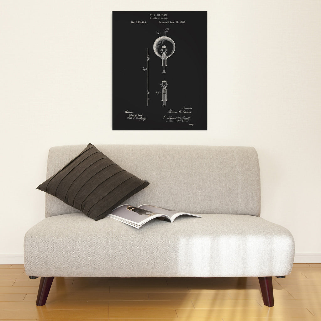 Edison Electric Lamp Canvas Patent Print