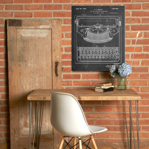 Typewriter Canvas Patent Print