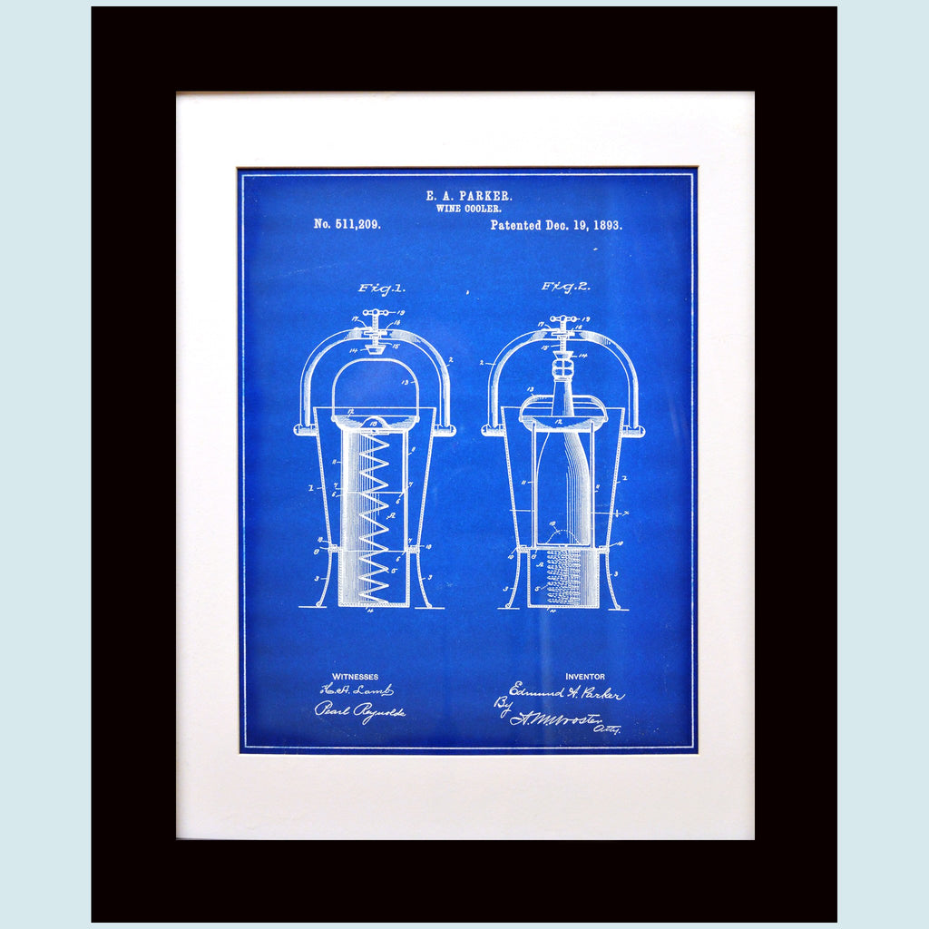 Slightly Damaged Framed Wine Cooler Patent Print