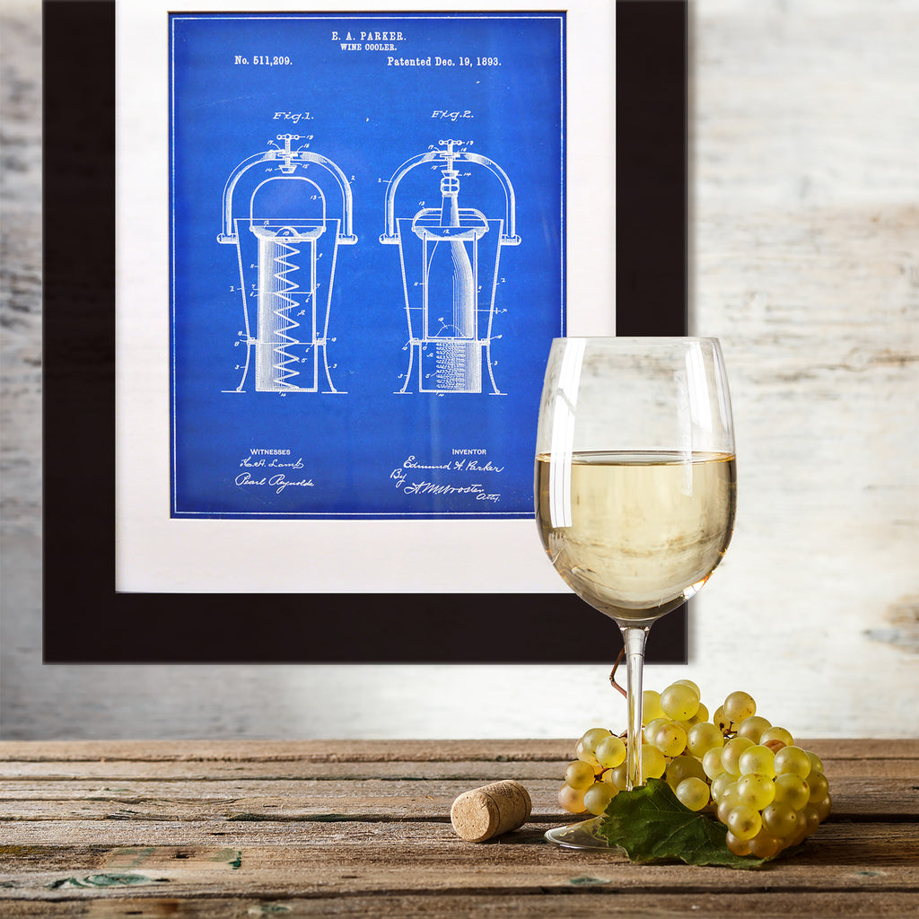 Framed Wine Cooler Patent Print