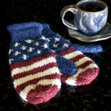 Knitted American Flag Mittens