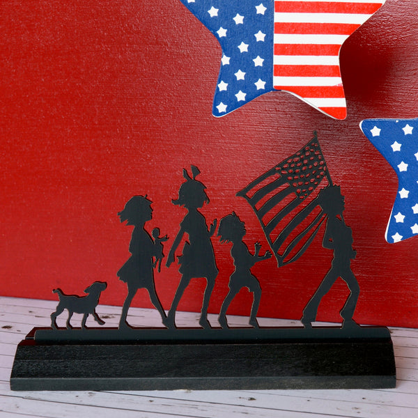 Fourth of July Wood Silhouette
