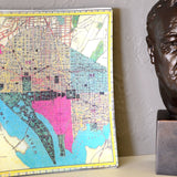 D.C. Map Glass Decoupage Tray: 11 3/4 X 8 inches