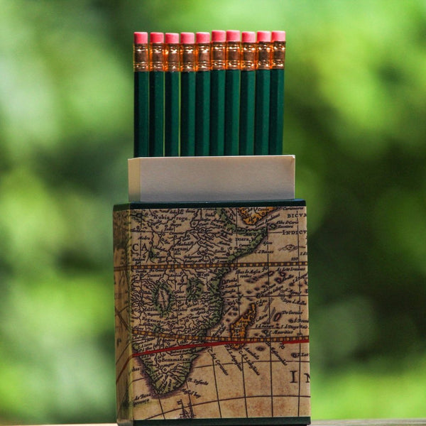 World Map Pencil and Notes Caddy