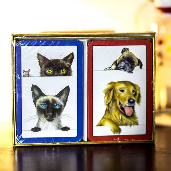 Dogs and Cats Playing Cards