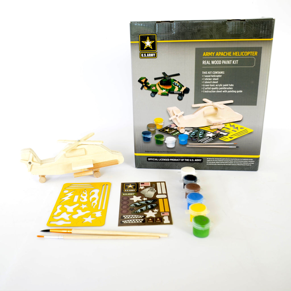 Real Wood Paint Kit: Army Apache Helicopter