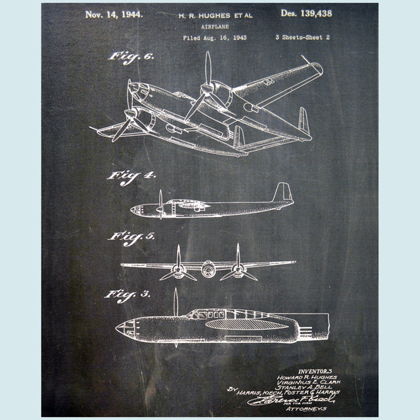 Howard Hughes Recon Airplane Canvas Patent Print