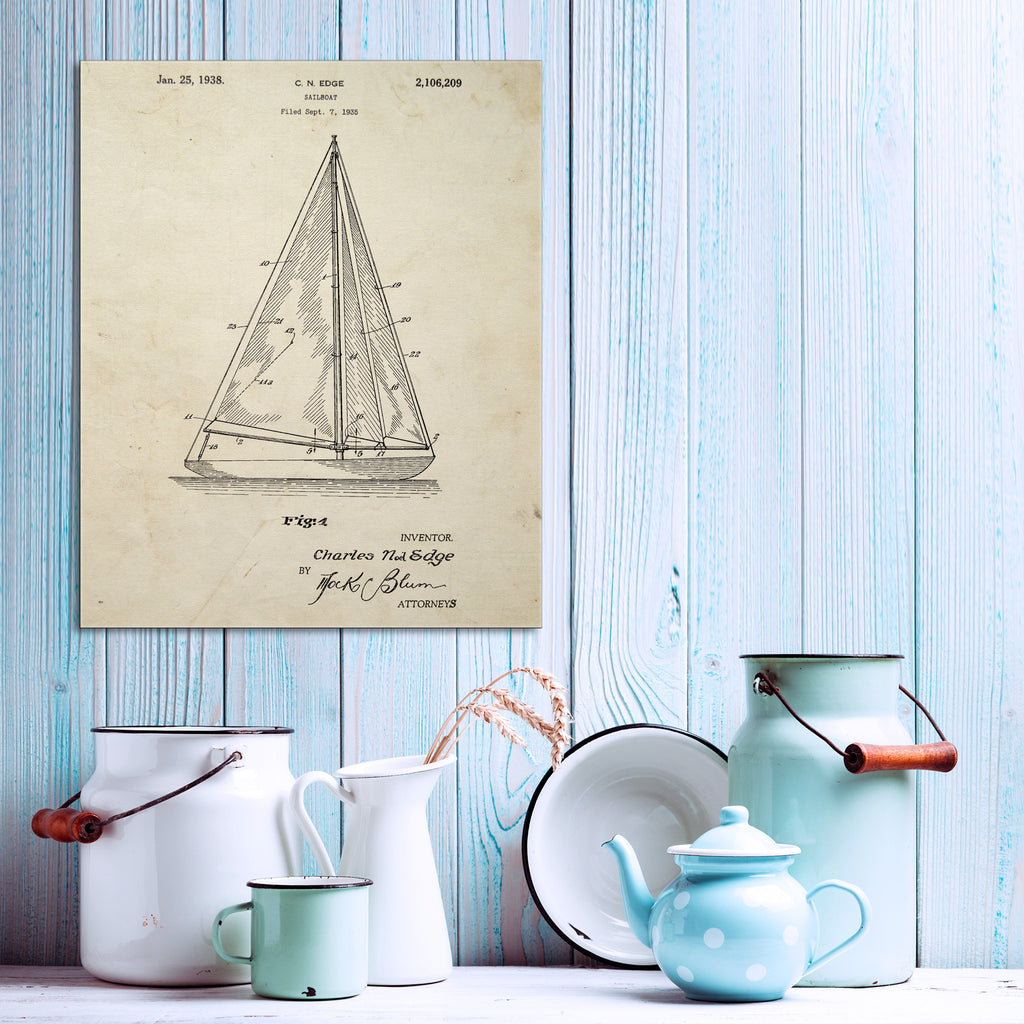 Sloop Sail Boat Canvas Patent Print