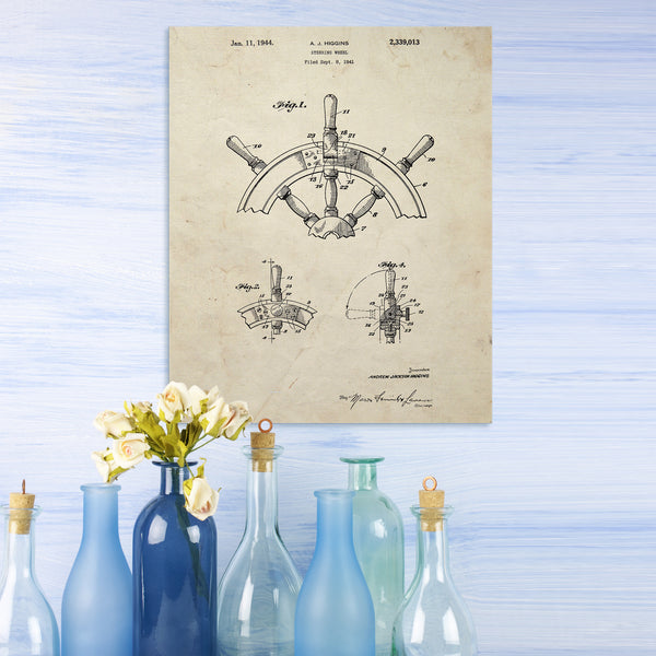 Ship's Wheel Canvas Patent Print