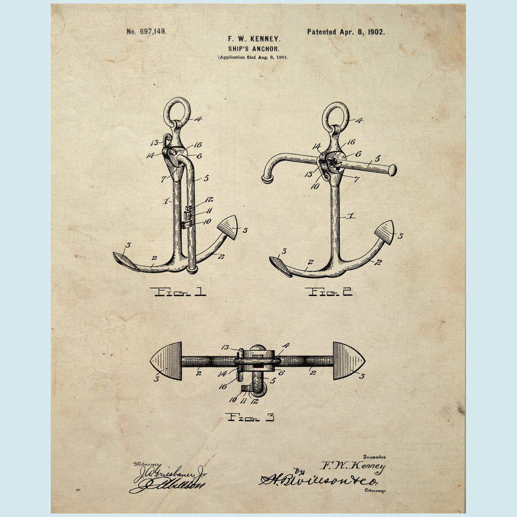Slightly Damaged Anchor Canvas Patent Print