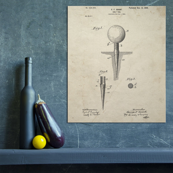 Golf Tee Canvas Patent Print