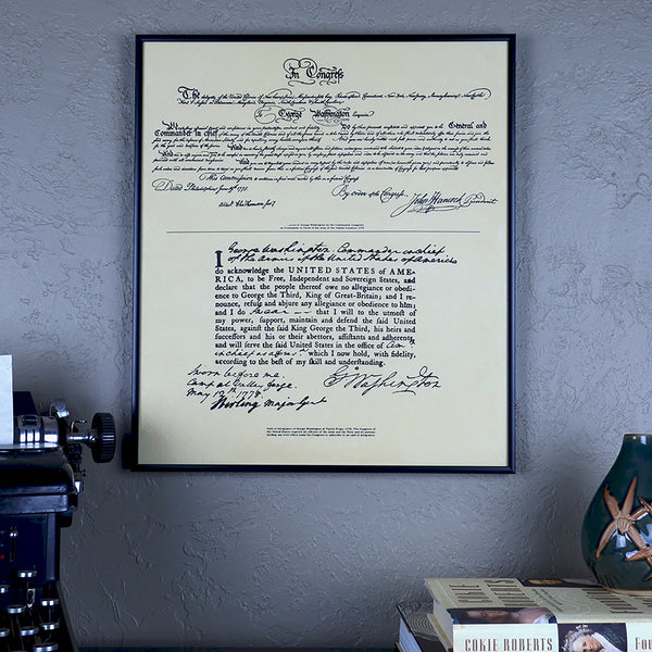 Framed Document George Washington Oath of Allegiance